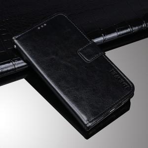 Глянцевый водоотталкивающий чехол портмоне подставка на силиконовой основе с отсеком для карт на магнитной защелке для Alcatel 1X Черный