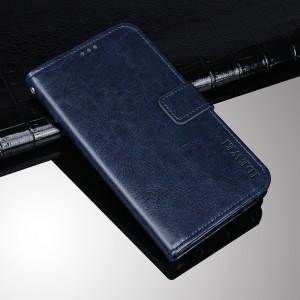 Глянцевый водоотталкивающий чехол портмоне подставка на силиконовой основе с отсеком для карт на магнитной защелке для Alcatel 1X Синий