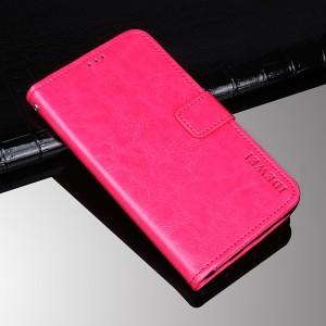 Глянцевый водоотталкивающий чехол портмоне подставка на силиконовой основе с отсеком для карт на магнитной защелке для Alcatel 1X  Розовый