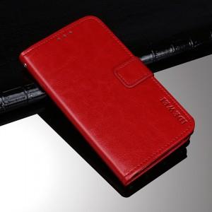 Глянцевый водоотталкивающий чехол портмоне подставка на силиконовой основе с отсеком для карт на магнитной защелке для Alcatel 1X Красный
