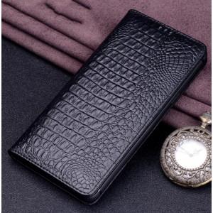Кожаный чехол горизонтальная книжка (премиум нат. кожа крокодила) для Iphone X 10