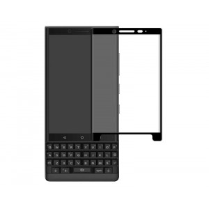 Полноэкранное ультратонкое износоустойчивое сколостойкое олеофобное защитное стекло-пленка для BlackBerry KEY2  Черный