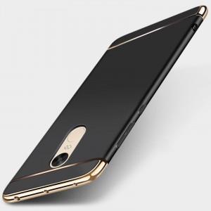 Пластиковый непрозрачный матовый чехол сборного типа с улучшенной защитой элементов корпуса для Xiaomi RedMi Note 4  Черный