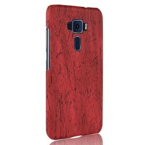 Пластиковый непрозрачный чехол с текстурным покрытием Дерево для Asus ZenFone 3  Красный