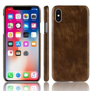 Чехол накладка текстурная отделка Кожа для Iphone X 10 Коричневый