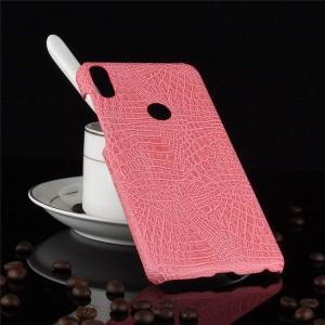Пластиковый непрозрачный матовый чехол с текстурным покрытием Кожа для ASUS ZenFone Max Pro M1 Розовый