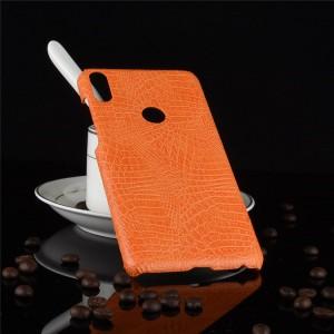 Пластиковый непрозрачный матовый чехол с текстурным покрытием Кожа для ASUS ZenFone Max Pro M1 Оранжевый