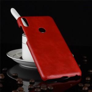 Пластиковый непрозрачный матовый чехол с текстурным покрытием Кожа для ASUS ZenFone Max Pro M1 Красный