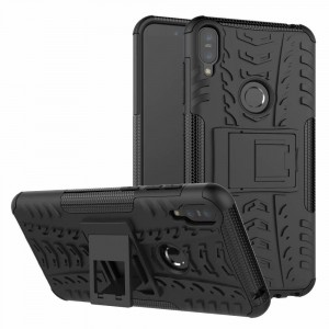 Противоударный двухкомпонентный силиконовый матовый непрозрачный чехол с поликарбонатными вставками экстрим защиты с встроенной ножкой-подставкой для ASUS ZenFone Max Pro M1 Черный