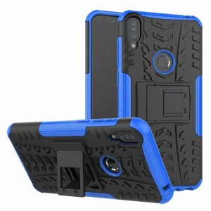 Противоударный двухкомпонентный силиконовый матовый непрозрачный чехол с поликарбонатными вставками экстрим защиты с встроенной ножкой-подставкой для ASUS ZenFone Max Pro M1