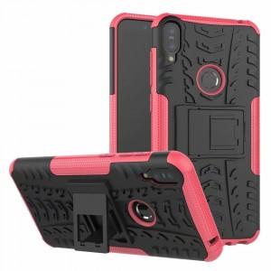 Противоударный двухкомпонентный силиконовый матовый непрозрачный чехол с поликарбонатными вставками экстрим защиты с встроенной ножкой-подставкой для ASUS ZenFone Max Pro M1 Розовый