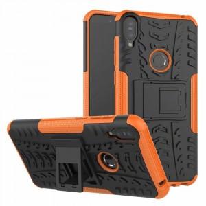 Противоударный двухкомпонентный силиконовый матовый непрозрачный чехол с поликарбонатными вставками экстрим защиты с встроенной ножкой-подставкой для ASUS ZenFone Max Pro M1 Оранжевый