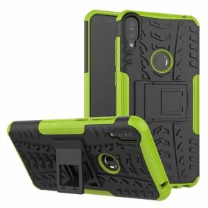 Противоударный двухкомпонентный силиконовый матовый непрозрачный чехол с поликарбонатными вставками экстрим защиты с встроенной ножкой-подставкой для ASUS ZenFone Max Pro M1 Зеленый