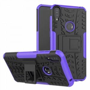 Противоударный двухкомпонентный силиконовый матовый непрозрачный чехол с поликарбонатными вставками экстрим защиты с встроенной ножкой-подставкой для ASUS ZenFone Max Pro M1 Фиолетовый