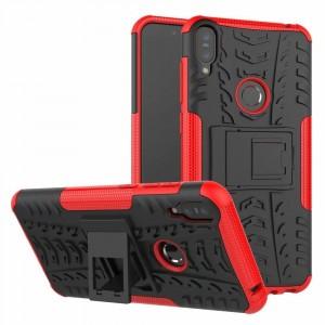 Противоударный двухкомпонентный силиконовый матовый непрозрачный чехол с поликарбонатными вставками экстрим защиты с встроенной ножкой-подставкой для ASUS ZenFone Max Pro M1 Красный