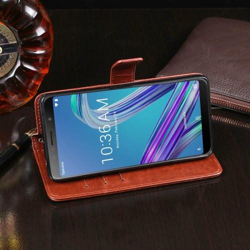 Чехол портмоне подставка на силиконовой основе с отсеком для карт на магнитной защелке для ASUS ZenFone Max Pro M1