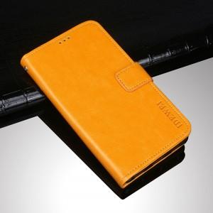 Чехол портмоне подставка на силиконовой основе с отсеком для карт на магнитной защелке для ASUS ZenFone Max Pro M1 Желтый