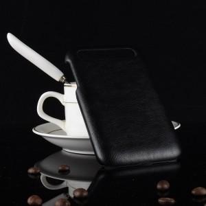 Пластиковый непрозрачный матовый чехол с текстурным покрытием Кожа для Blackberry Classic  Черный