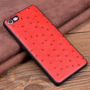 Кожаный чехол накладка (премиум нат. кожа страуса) для Iphone 8