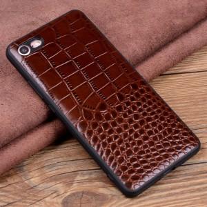 Кожаный чехол накладка (премиум нат. кожа крокодила) для Iphone 8