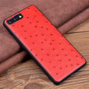 Кожаный чехол накладка (премиум нат. кожа страуса) для Iphone 8 Plus