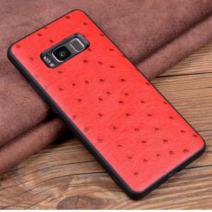 Кожаный чехол накладка (премиум нат. кожа страуса) для Samsung Galaxy S8 Plus