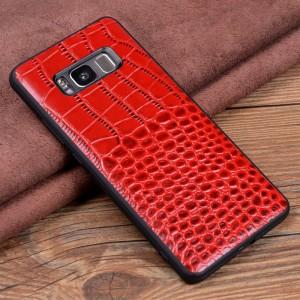 Кожаный чехол накладка (премиум нат. кожа крокодила) для Samsung Galaxy S8 Plus
