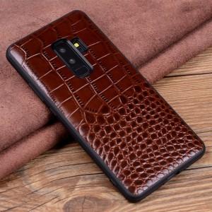 Кожаный чехол накладка (премиум нат. кожа крокодила) для Samsung Galaxy S9 Plus