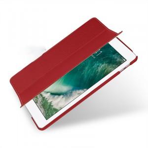 Кожаный смарт чехол книжка подставка сегментарный (премиум нат. кожа) для Ipad (2017) Красный
