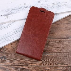 Чехол вертикальная книжка на силиконовой основе с отсеком для карт на магнитной защелке для Xiaomi RedMi Note 4 Коричневый