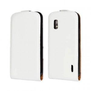 Чехол вертикальная книжка на пластиковой основе на магнитной защелке для LG Google Nexus 4 Белый