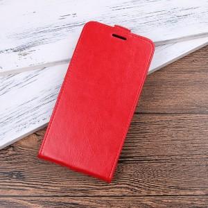 Чехол вертикальная книжка на силиконовой основе с отсеком для карт на магнитной защелке для Alcatel 3C Красный