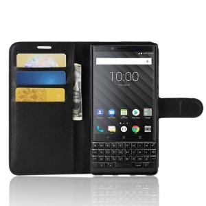 Чехол портмоне подставка на силиконовой основе с отсеком для карт на магнитной защелке для BlackBerry KEY2  Черный