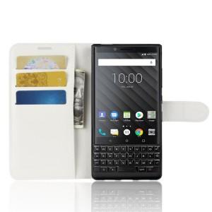 Чехол портмоне подставка на силиконовой основе с отсеком для карт на магнитной защелке для BlackBerry KEY2  Белый