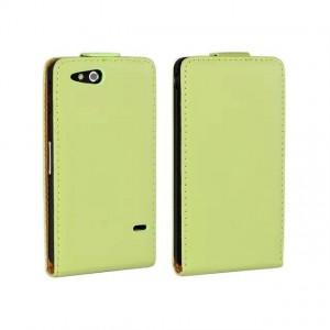 Чехол вертикальная книжка на пластиковой основе на магнитной защелке для Sony Xperia go Зеленый