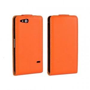 Чехол вертикальная книжка на пластиковой основе на магнитной защелке для Sony Xperia go Оранжевый