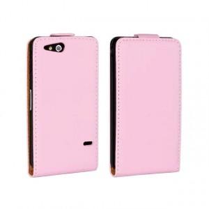 Чехол вертикальная книжка на пластиковой основе на магнитной защелке для Sony Xperia go Розовый