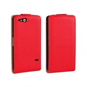 Чехол вертикальная книжка на пластиковой основе на магнитной защелке для Sony Xperia go Красный
