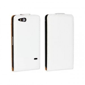 Чехол вертикальная книжка на пластиковой основе на магнитной защелке для Sony Xperia go Белый