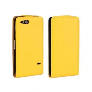 Чехол вертикальная книжка на пластиковой основе на магнитной защелке для Sony Xperia go Желтый