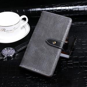 Чехол портмоне подставка текстура Крокодил на силиконовой основе с отсеком для карт на крепежной застежке для ASUS ZenFone Max Pro M1 Серый