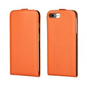 Чехол вертикальная книжка на силиконовой основе на магнитной защелке для Iphone 7/8 Оранжевый