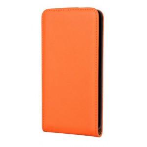 Чехол вертикальная книжка на пластиковой основе на магнитной защелке для Microsoft Lumia 640 Оранжевый