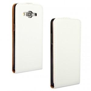 Чехол вертикальная книжка на пластиковой основе на магнитной защелке для Samsung Galaxy Core Prime  Белый