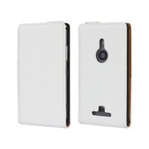 Чехол вертикальная книжка на пластиковой основе на магнитной защелке для Nokia Lumia 925  Белый