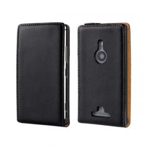 Чехол вертикальная книжка на пластиковой основе на магнитной защелке для Nokia Lumia 925  Черный