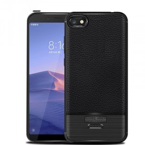 Силиконовый матовый непрозрачный чехол с текстурным покрытием Кожа для Xiaomi RedMi 6A Черный