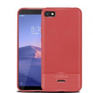 Силиконовый матовый непрозрачный чехол с текстурным покрытием Кожа для Xiaomi RedMi 6A Красный