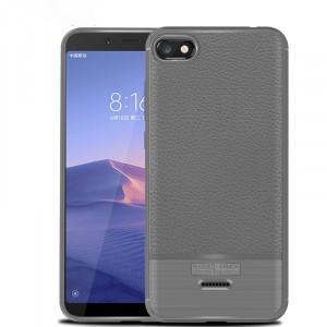 Силиконовый матовый непрозрачный чехол с текстурным покрытием Кожа для Xiaomi RedMi 6A Серый