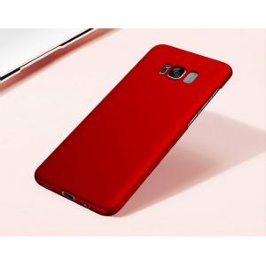 Пластиковый непрозрачный матовый чехол с улучшенной защитой элементов корпуса для Samsung Galaxy S8 Красный